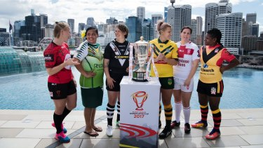 Ready to go: The captains of the six nations competing in the Rugby League World Cup.