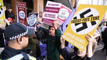 Anti-racism protesters in Melbourne attended the court appearance of a far-right group leader in September.
