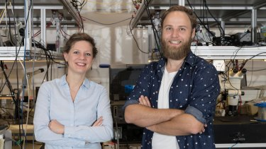 Dr Birgit Stiller and Moritz Merklein inside their lab in the Sydney Nanoscience Hub.