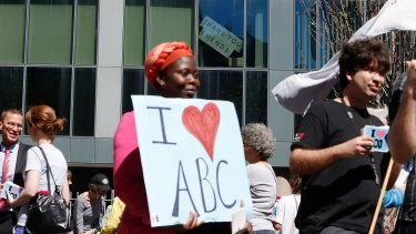 A rally outside the ABC headquarters in Ultimo after the first round of budget cuts under the Abbott government.