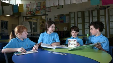 Hughes Primary School year 3 students, from left, Mercedes Ellis, Allie Booth, Vivian McCarthy and Declan Murphy.