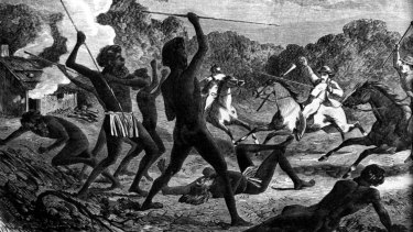 Aboriginal warriors in action in a sketch titled <i>A Deadly Encounter</i> by H Calvert in 1870.