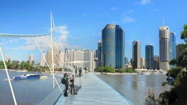 Artist impression the proposed Kangaroo Point pedestrian bridge.