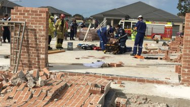 A 19-year-old male suffered critical injuries when a wall fell on him in Kellyville.