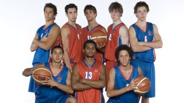 AIS guard position players back-row from left to right:  Tyson Demos, Ben Louis, Christian Salecich, Shannon Seebohm, Matthew Dellavedova. Front-row from left to right: Kyle Armour, Patrick Mills, Jorden Page.