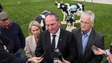 Deputy Prime Minister and Nationals Leader Barnaby Joyce during his visit to dairy farmers and a processing plant in Shepparton last week.