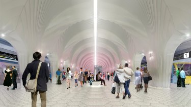A concept image of the interior of Arden station.