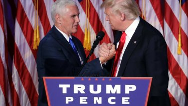 President-elect Donald Trump thanks vice-President-elect Mike Pence as he gives his acceptance speech.