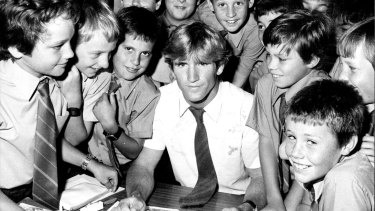 Class act: Des Hasler at work at St. Pius X College in Chatswood in 1984.