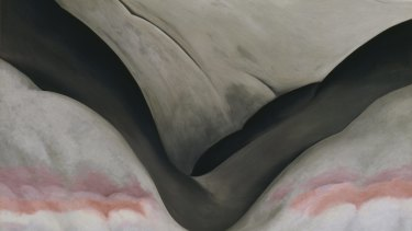 Detail of Georgia O'Keeffe's <i>Black Place, Grey and Pink</i>, 1949.