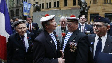 French veterans gathered at the cenotaph in Martin Place, Sydney, for the Remembrance Day service.