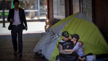 Homeless couple Josh and Tara are camping out near the corner of Flinders and Market Street.