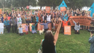 Protesters at Bibra Lake  opposed to Roe 8 which is part of the Perth Freight Link