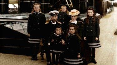 The family of Tsar Nicholas II of Russia, circa 1906-07. The Tsar (1868-1918), Tsarina Alexandra (1872-1918) and their children Grand Duchesses Olga (1895-1918), Tatiana (1897-1918), Maria (1899-1918), Anastasia (1901-1918) and the Tsarevich Alexei (1904-1918).