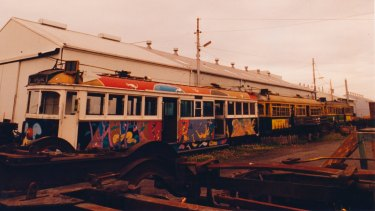 Michael Leunig's art tram pictured exposed to the elements in 1993. It is now in storage in VicTrack's Newport rail yards.