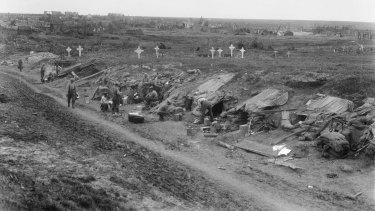 Troops billeted in a sunken road near Bullecourt on May 19, 1917