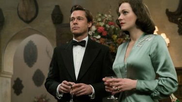 Brad Pitt and Marion Cotillard in <i>Allied</i>.