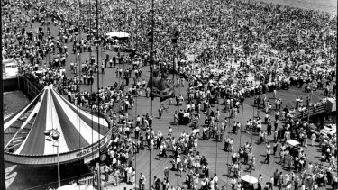 A portion of Coney Island beach in New York City July 4, shows the city-dweller's love for the sea.