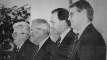 Graham Richardson, Bill Hayden, Paul Keating and John Faulkner at a 1994 swearing-in ceremony at Government House.