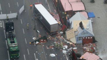 An aerial photo showing the trail of devastation left by the truck.