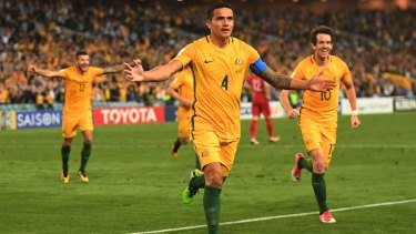 Cometh the hour: Tim Cahill celebrates his extra-time winner.