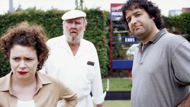 Lucy with Mick Molloy and Bill Hunter in the lawn bowls comedy Crackerjack.