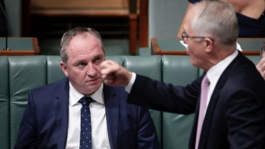 Barnaby Joyce with Malcolm Turnbull during question time.