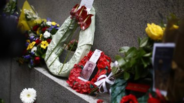 Wreaths and other floral tributes placed at Sydney's cenotaph during the Remembrance Day service.