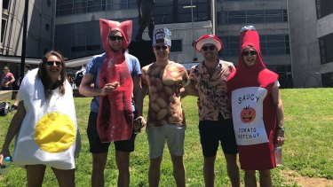 Ollie Geffen (far right) and his friends came dressed as a full English breakfast.