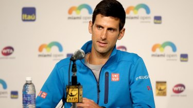 Novak Djokovic  fields questions from the media during the Miami Open.