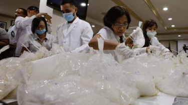 Philippine authorities say they've seized 605 kilograms (1,334 pounds) of high-grade methamphetamine shipped from China.