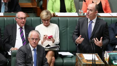 Mr Robert, pictured with Prime Minister Malcolm Turnbull, was asked several questions during question time.