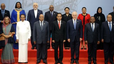 Malcolm Turnbull and Indonesian President Joko Widodo pose with fellow Indian Ocean Rim Association leaders, including representatives  of Yemen and Iran, both subject to the US travel ban.