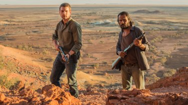 Opening night attraction ... Alex Russell and Aaron Pedersen in <i>Goldstone</i>.
