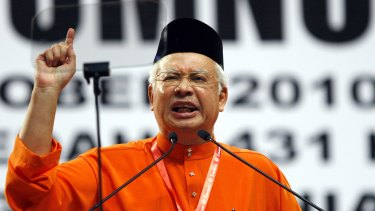Najib Razak delivers a speech at  Malaysia's ruling party United Malays National Organisation general assembly in Kuala Lumpur in 2010.