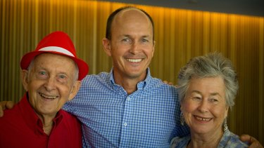 Relief: Juris Greste (left), the father of Australian journalist Peter Greste, Peter's brother Andrew (centre) and his mother Lois smile after holding a press conference in Brisbane after Peter was deported from Egypt.