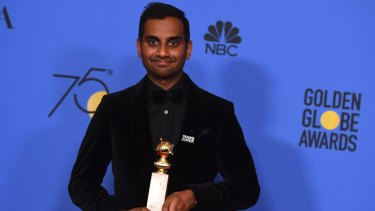 Aziz Ansari with the award for best actor in a television series (musical or comedy) for <i>Master of None</i>.