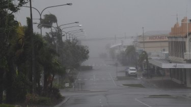 Bowen is pummelled by the wind and rain as Cyclone Debbie nears the north Queensland town.