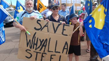 After a rally for the future of the steel industry in Whyalla on Tuesday, people marched through the city streets to the council chambers.