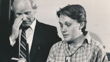 Kylie Maybury's mother Julie and her grandfather, John Moss, at a press conference in November 1984.