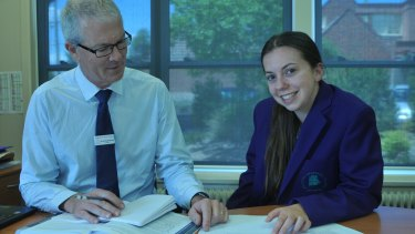 SEAL student Madelaine Grant with Brighton Secondary School principal Richard Minack. Both say the streamed program is about more than academic scores.