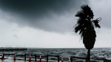 Waves crash against a seawall before Hurricane Irma arrives in Jensen Beach, Florida.