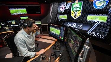 Hard at work: Head video referee Bernard Sutton.