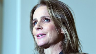 Australian actress Rachel Griffiths speaks to the media after appearing before the Modern Slavery Inquiry.