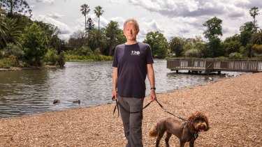 Peter Hughes, with dog Rosie. Peter is a local resident, and frequents Queens Park. Photo: Daniel Pockett