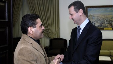 Syrian President Bashar al-Assad greets Samir Kuntar in Damascus in 2008.
