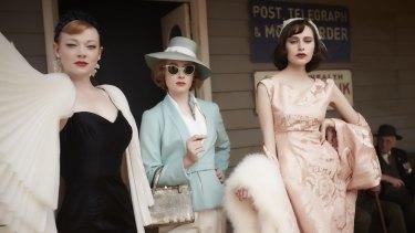 Sarah Snook as Gertrude, Amanda Woodhams as Nancy and Hayley Magnus as Prudence in <i>The Dressmaker</i>.