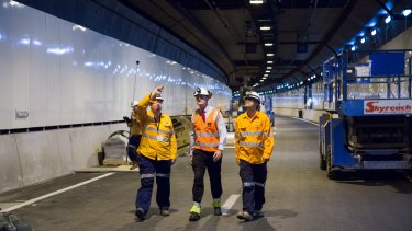 Lord Mayor Graham Quirk inspects Legacy Way in March.
