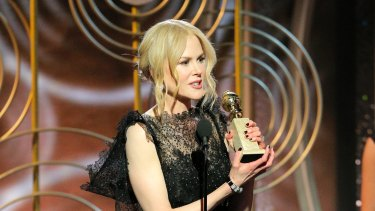 """Nicole Kidman accepting the award for best performance by an actress in a limited series or motion picture made for TV for her role in """"Big Little Lies,"""" at the 75th Annual Golden Globe Awards in Beverly Hills, California."""