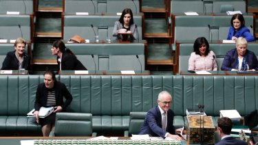 Malcolm Turnbull and Liberal MPs sit down for Question Time earlier today.